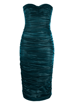 Dolce & Gabbana longuette dress in lamé satin - Blue