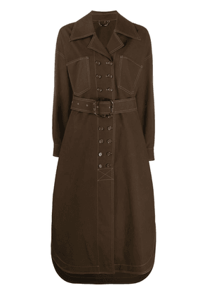 Fendi oversized belted trench coat - Brown
