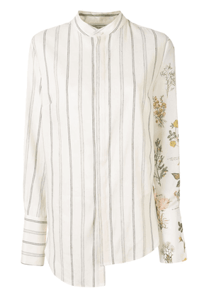 Monse mixed-print asymmetric shirt - NEUTRALS