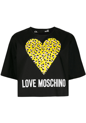 Love Moschino Leopard Hearts T-shirt - Black