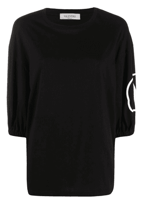 Valentino VLOGO print puff sleeve top - Black