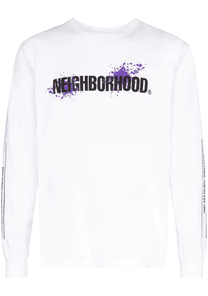 Neighborhood long-sleeve logo print T-shirt - White