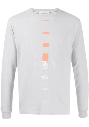 Stone Island broken-logo long-sleeved T-shirt - Grey