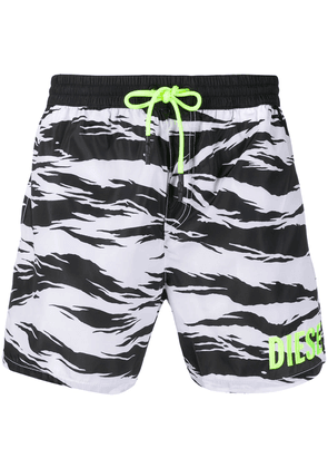 Diesel abstract print swim shorts - White