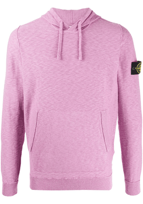 Stone Island logo-patch hooded sweater - PINK