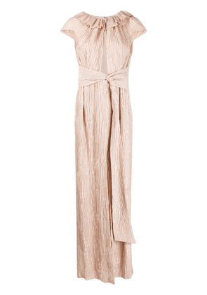 Roland Mouret Rila creases effect gown - NEUTRALS