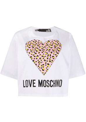 Love Moschino Leopard Hearts T-shirt - White