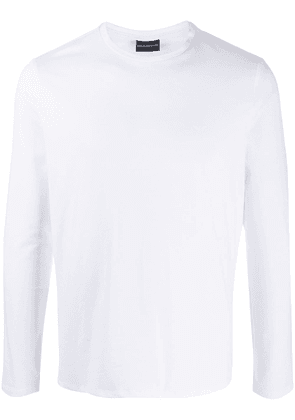 Emporio Armani crew neck long-sleeved top - White