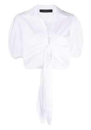 Federica Tosi cropped tie front shirt - White