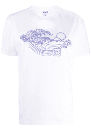 Kenzo wave embroidered T-shirt - White