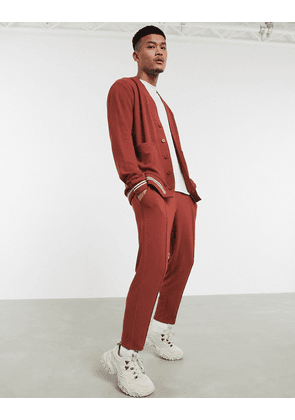 ASOS DESIGN co-ord tapered joggers in waffle with striped rib & fixed hem-Brown