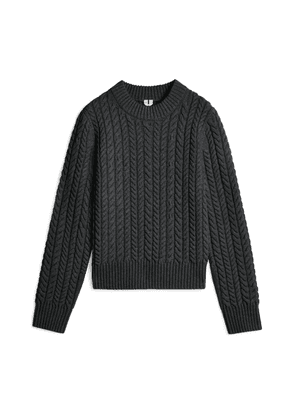 Recycled Wool Cable Jumper - Grey