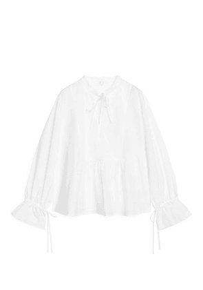 Ruffled Cotton Poplin Tunic - White