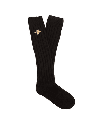 Gucci - Bee-embroidered Chunky Ribbed-knit Socks - Mens - Black