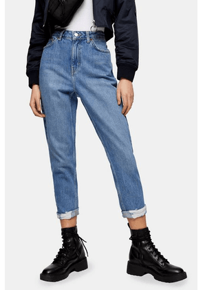 Womens Tall Mid Stone Ripped Mom Tapered Jeans - Mid Stone, Mid Stone