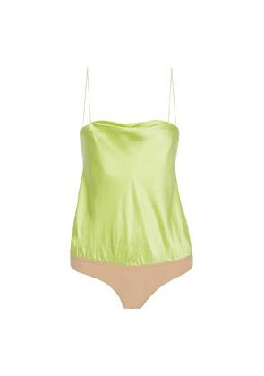 Alix Nyc Silk-satin And Jersey Bodysuit Woman Chartreuse Size XS