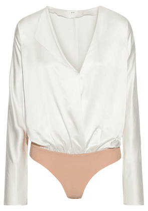Alix Nyc Calder Wrap-effect Silk-charmeuse And Stretch-jersey Bodysuit Woman Ivory Size XS