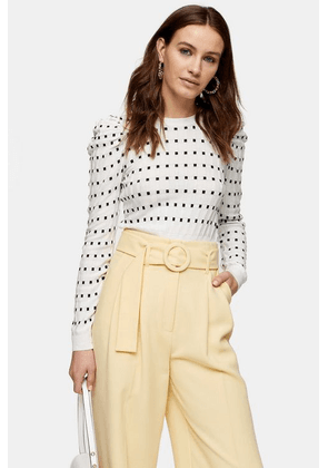 Womens White And Black Square Spot Puff Sleeve Knitted Jumper - Ivory, Ivory