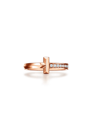 Tiffany T T1 narrow diamond ring in 18k rose gold, 2.5 mm wide - Size 8