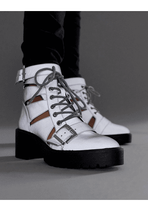 ASOS DESIGN Rion chunky cut out boots in reflective-Silver