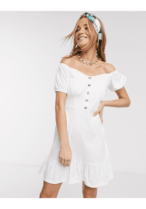 ASOS DESIGN cupped off the shoulder tiered mini dress in white