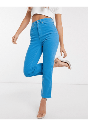 ASOS DESIGN High rise 'Stretch' straight jeans in azure blue