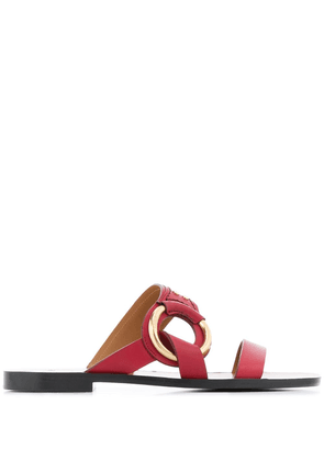 Chloé ring detail flat sandals - Red
