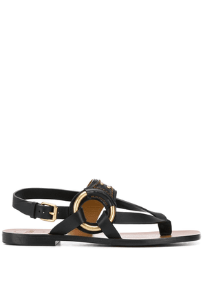 Chloé ring-detail flat sandals - Black