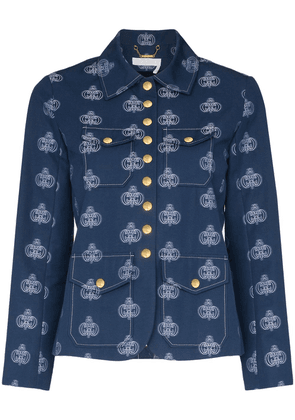 Chloé logo printed jacket - Blue