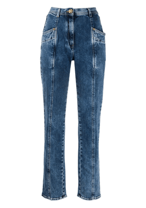 Versace panelled tapered leg jeans - Blue