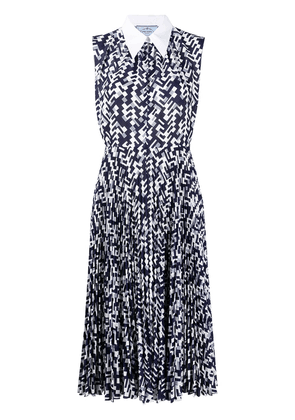 Prada Pattern motif sleeveless midi dress - Blue