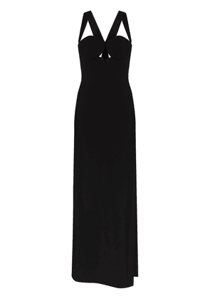 Versace halterneck side slit maxi gown - Black