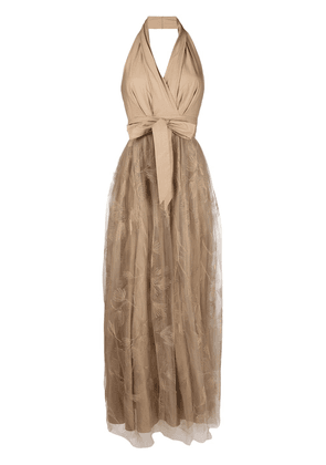 Brunello Cucinelli floral embroidered tulle panel dress - NEUTRALS