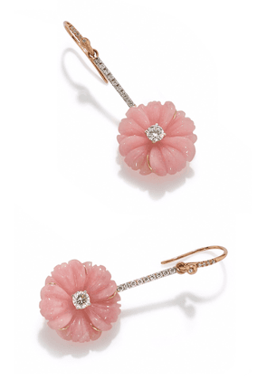 Irene Neuwirth Cherry Blossom Earrings set with Pink Opal and Diamond