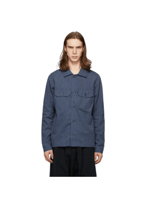 Naked and Famous Denim Indigo Chambray Railroad Work Shirt