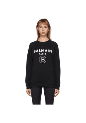 Balmain Black Flocked Logo Sweatshirt