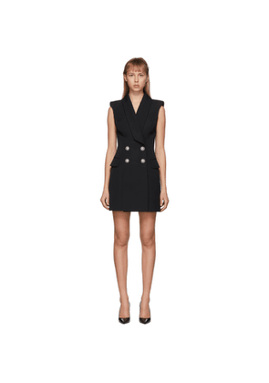 Balmain Black Grain De Poudre 4-Button Sleeveless Dress