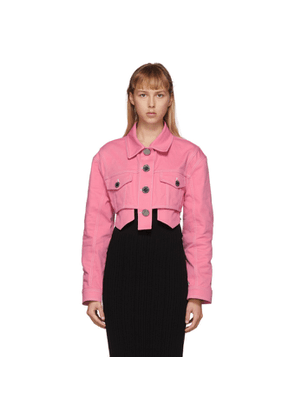 Balmain Pink Denim Cropped Jacket