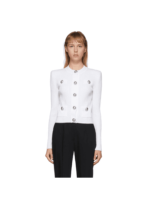Balmain White Knit Button Cardigan