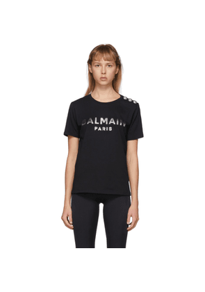 Balmain Black and Silver 3-Button Metallic Logo T-Shirt