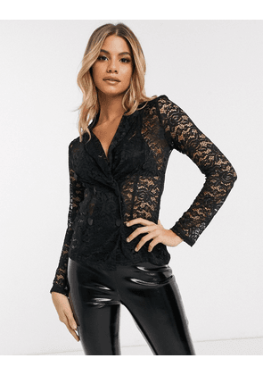 Club L double breasted blazer with lace in black