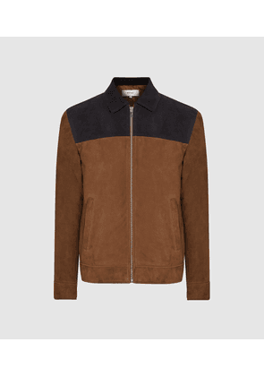 Reiss Redding - Tone-tone Suede Jacket in Tobacco & Navy, Mens, Size S