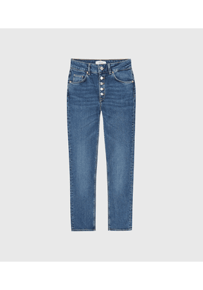 Reiss Bailey - Mid Rise Slim Cut Jeans in Mid Blue, Womens, Size 26