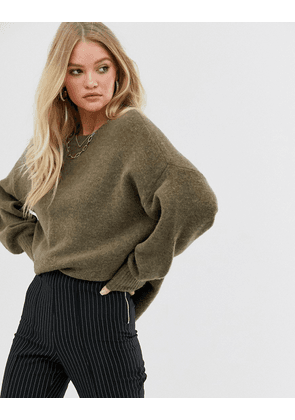 Y.A.S oversized knitted jumper with volume sleeve-Cream