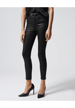 The Kooples - Slim leather-effect stretchy black jeans - WOMEN