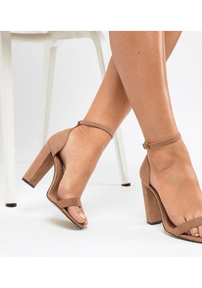 ASOS DESIGN Wide Fit Highball barely there heeled sandals-Beige