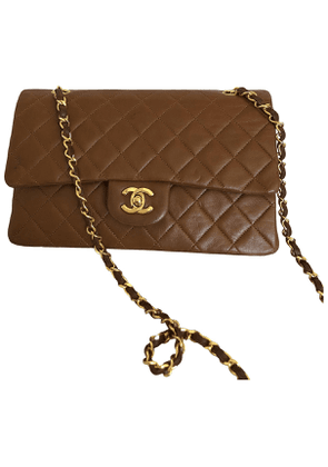 Chanel timeless/classique brown leather handbag