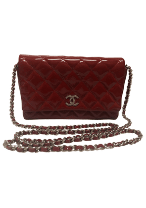 Chanel wallet on chain red patent leather clutch bag
