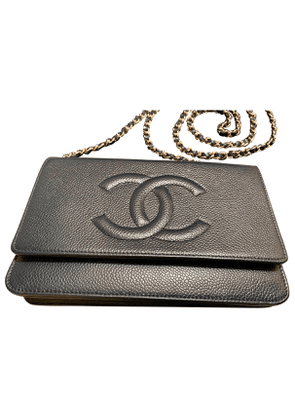 Chanel wallet on chain blue leather handbag