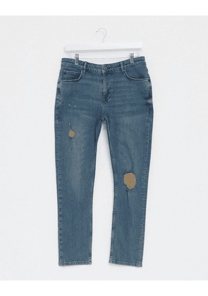 ASOS DESIGN cropped super skinny jeans in vintage dark wash blue with mid rips